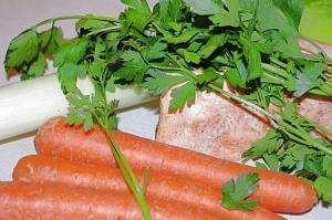 Suppen Zubereitung pürieren und legieren, Suppengrün